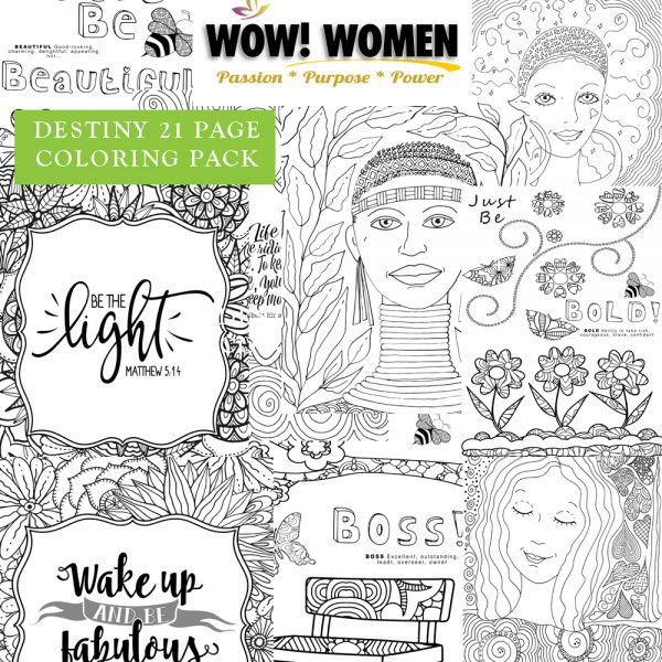 WOW Women Of Destiny Coloring Page Set - 21 Pages